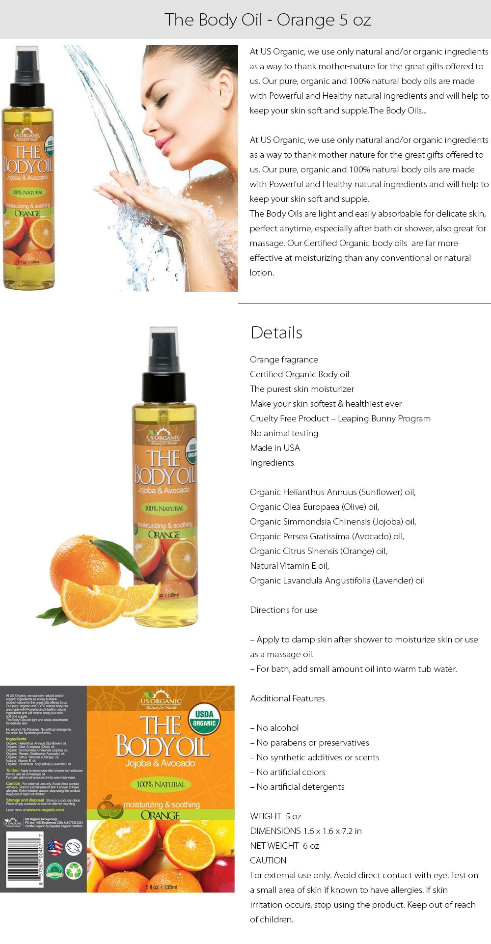 The Body Oil from US Organic Nature for Nature