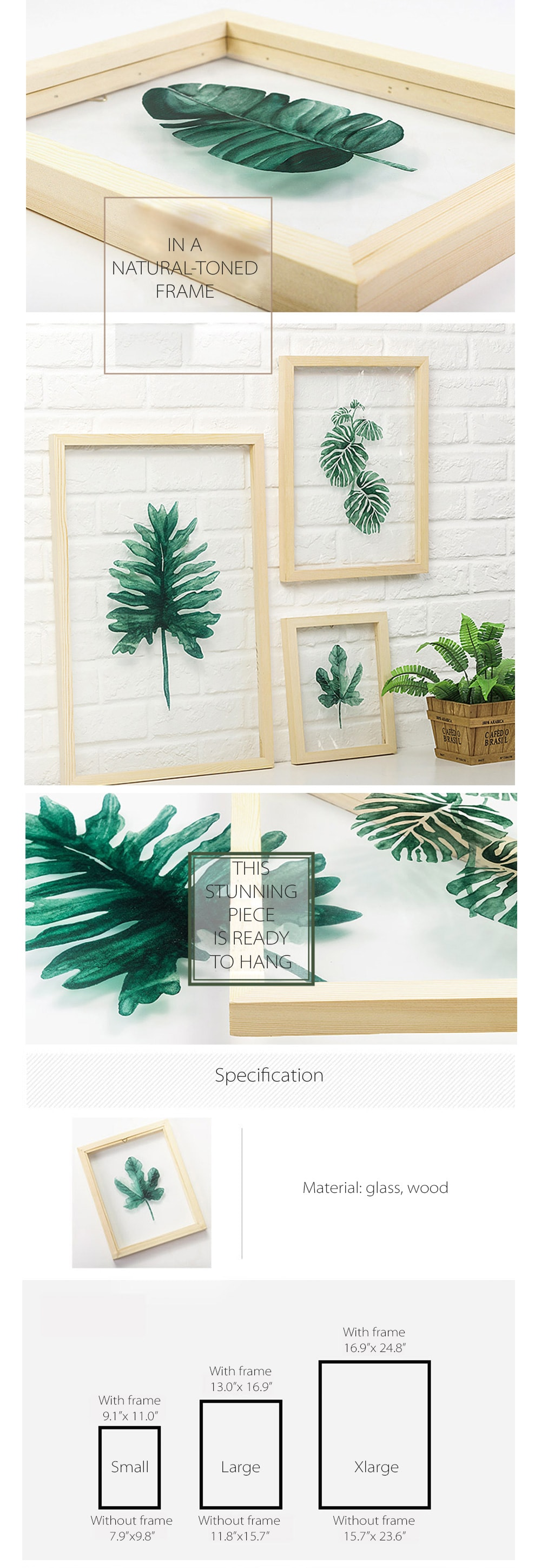 Leaf on Glass Framed Wall Art Art for Home