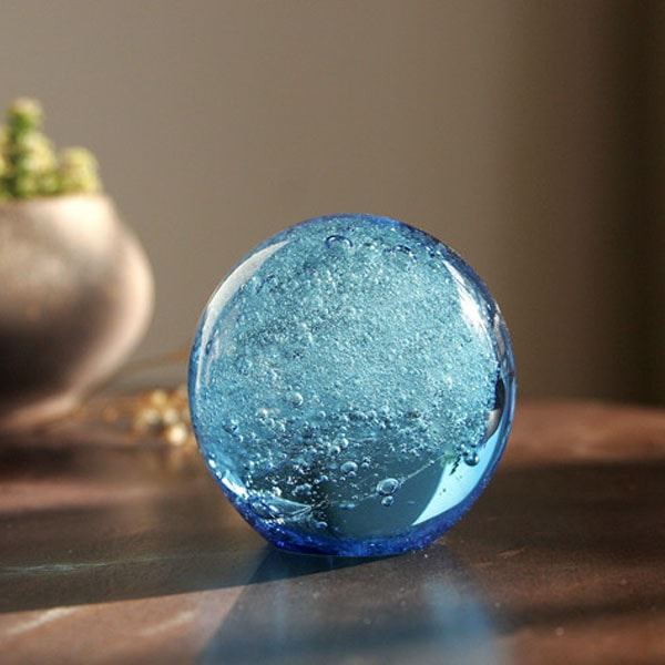 blue ocean glass orb paperweight apollobox