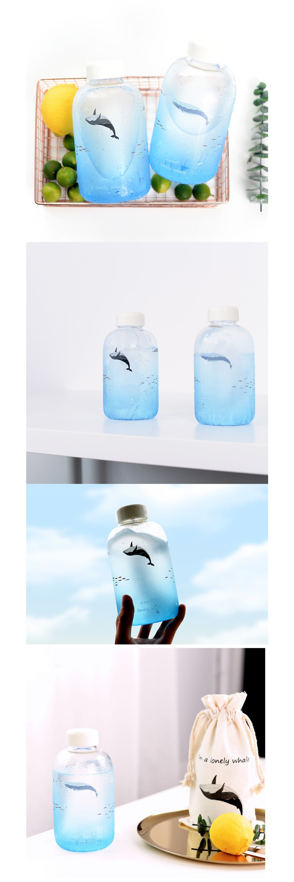 Ocean Blue Gradient Water Bottle Make Summer Cool
