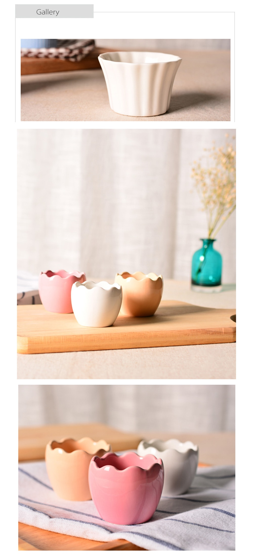 Baking Cups Set of 3 Beautiful Bright Ceramic Colors
