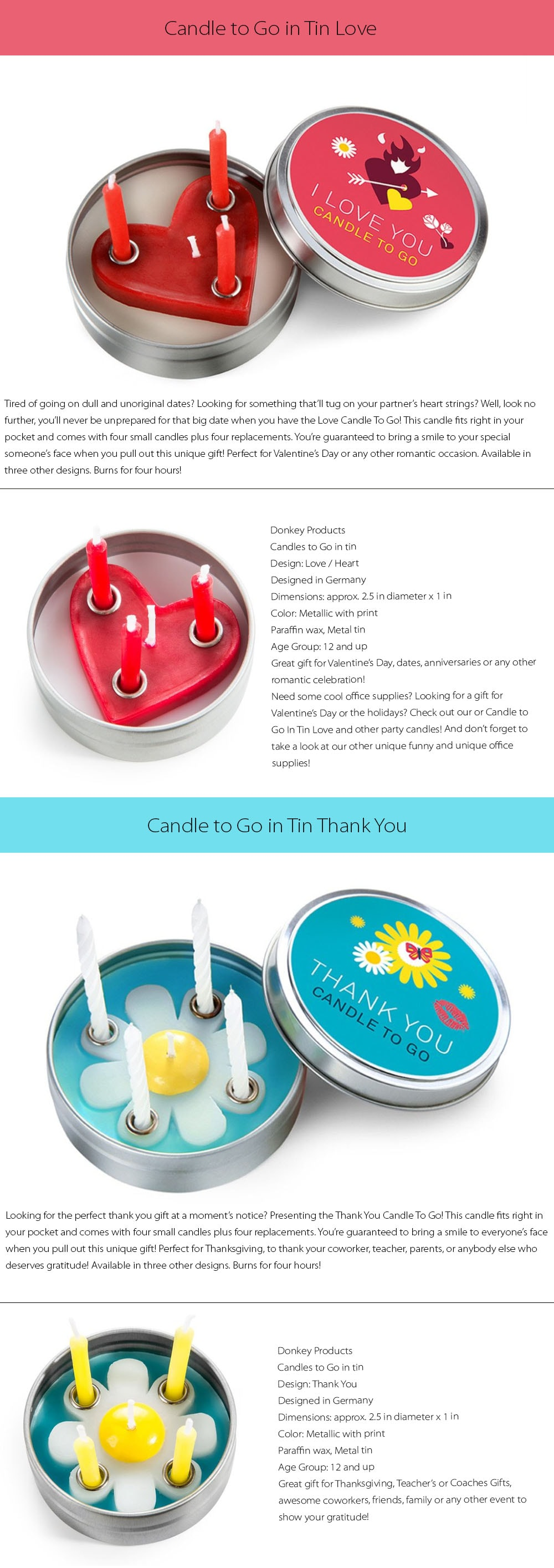 Candle to Go in Tin Designed in Germany