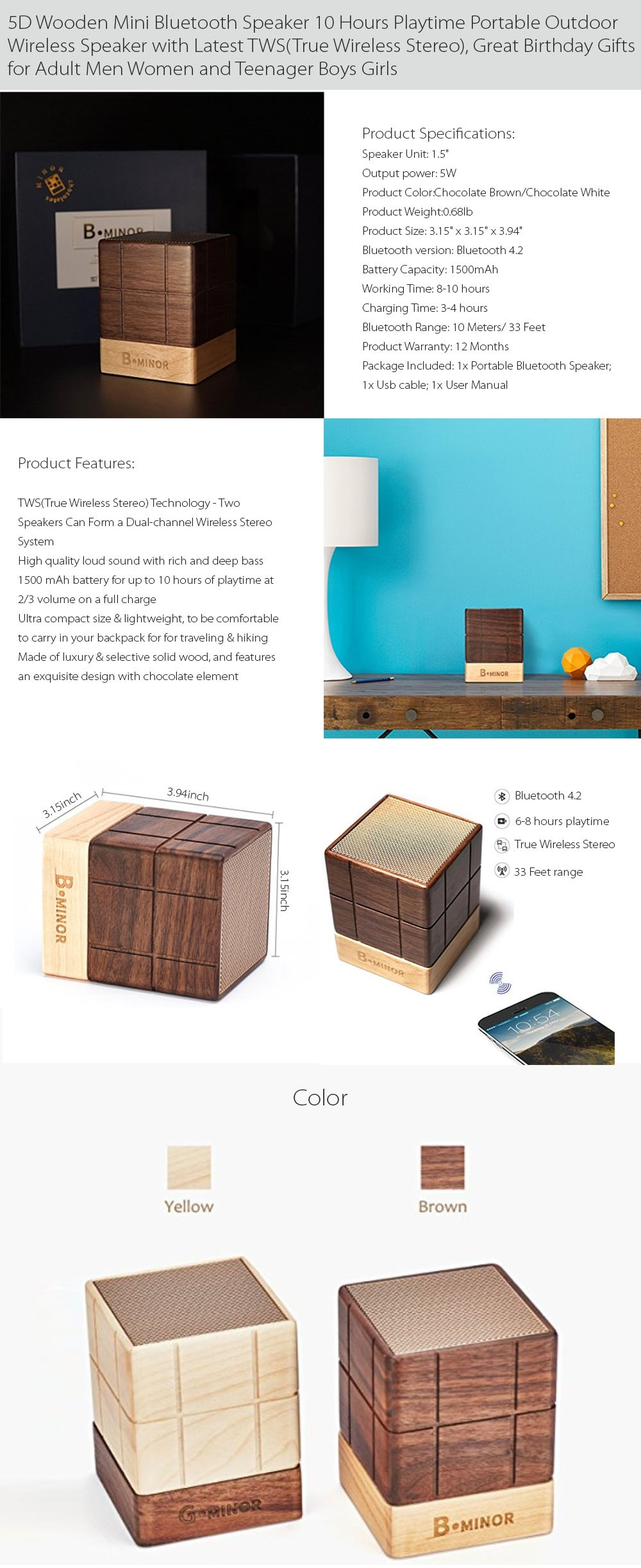 5D Wooden Mini Speaker Go Wireless