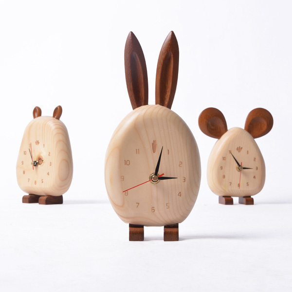 Wooden Animal Desk Clock