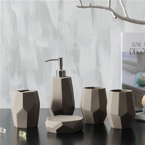Faceted Bath Accessories Set