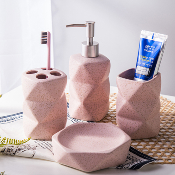 Ceramic Geometric Bath Accessory Set