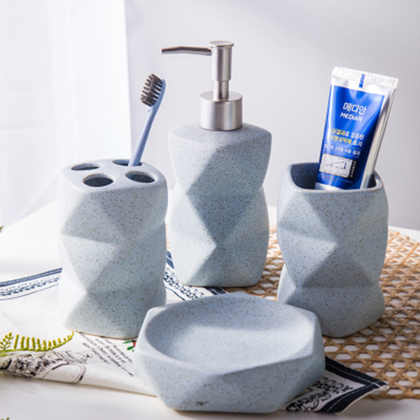... Product Image For Ceramic Geometric Bath Accessory Set ...