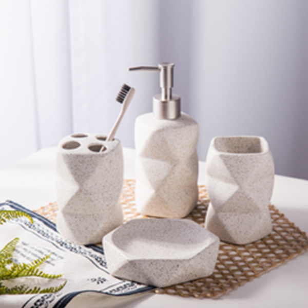Wonderful Product Image For Ceramic Geometric Bath Accessory Set