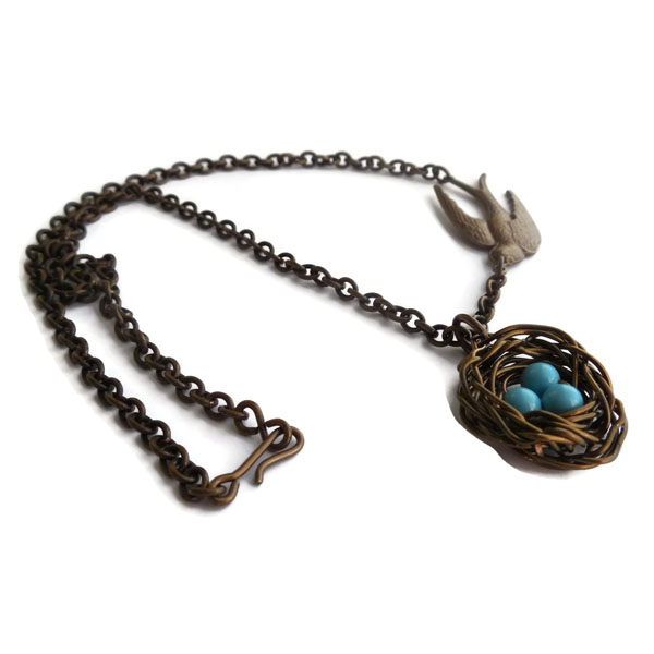 Robin's Eggs Nest Necklace