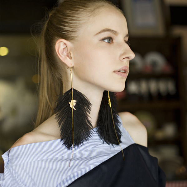 Soaring Bird & Black Plume Earring (Single)