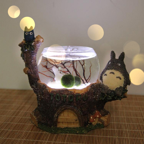Totoro Marimo Terrarium with LED Light