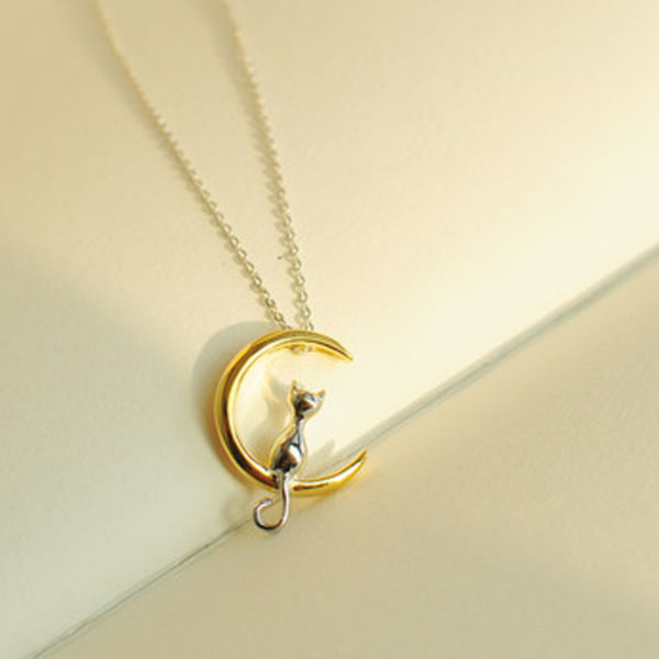Cat Crescent Moon Necklace