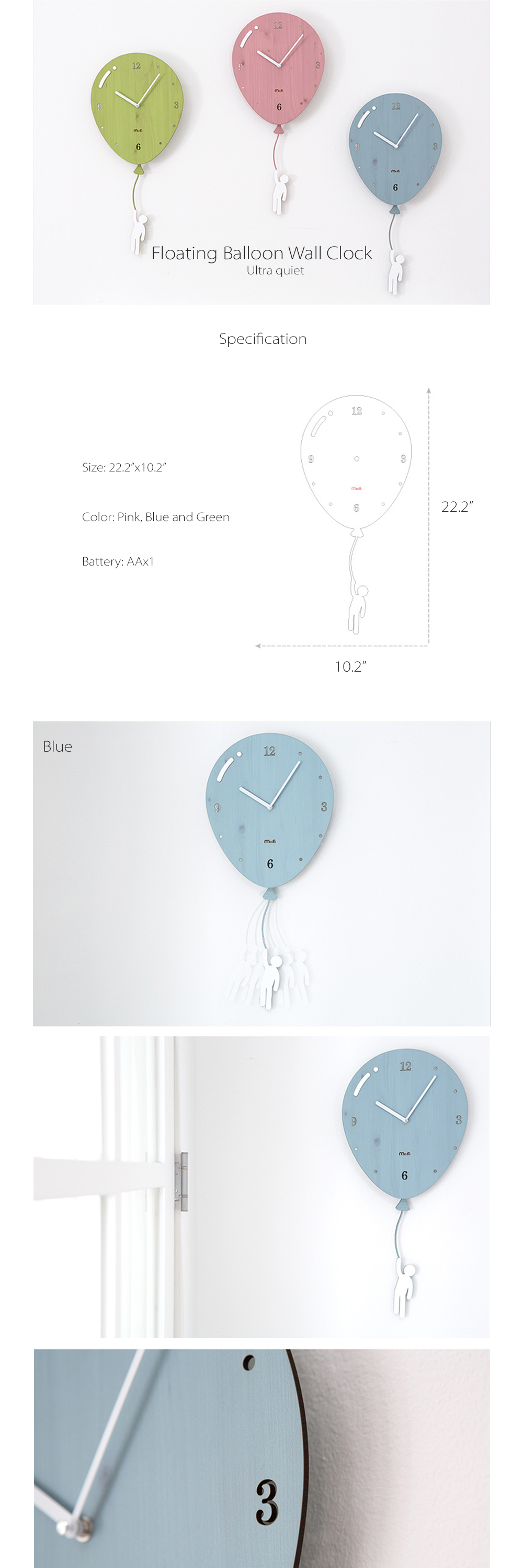 Floating Balloon Wall Clock Wall Clock From Icelandic Driftwood