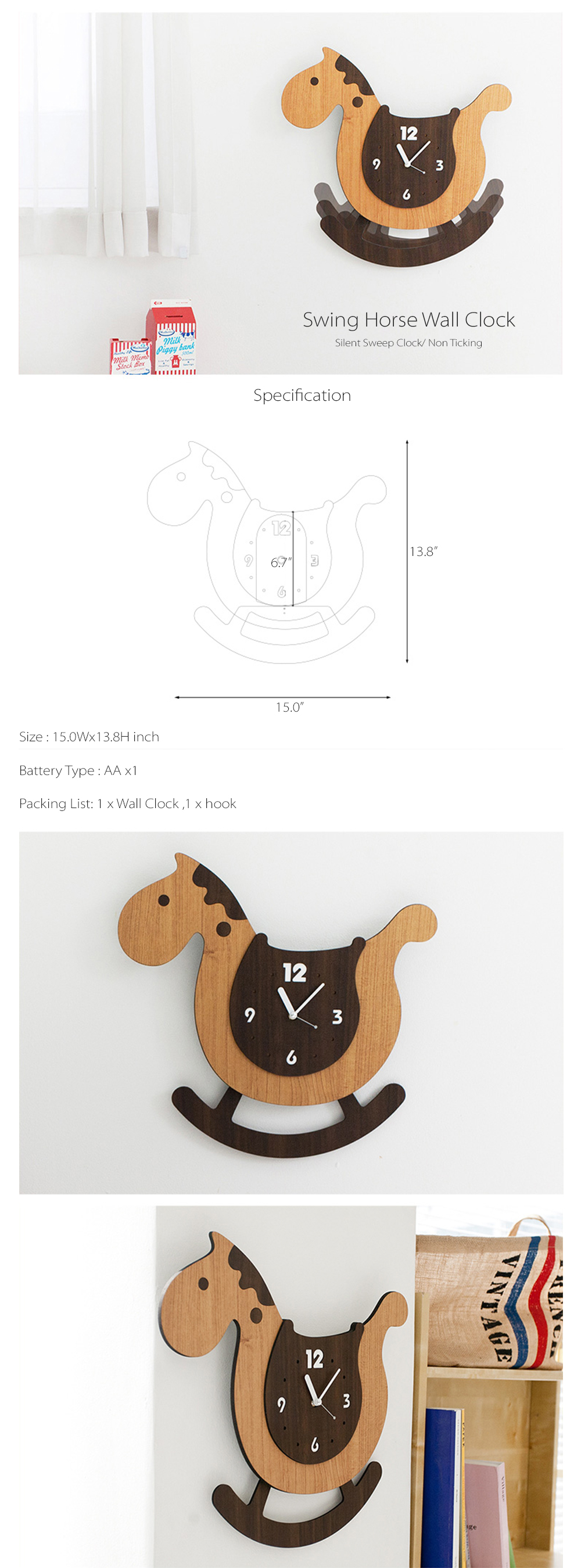 Swing Horse Wall Clock Wall Clock From Icelandic Driftwood