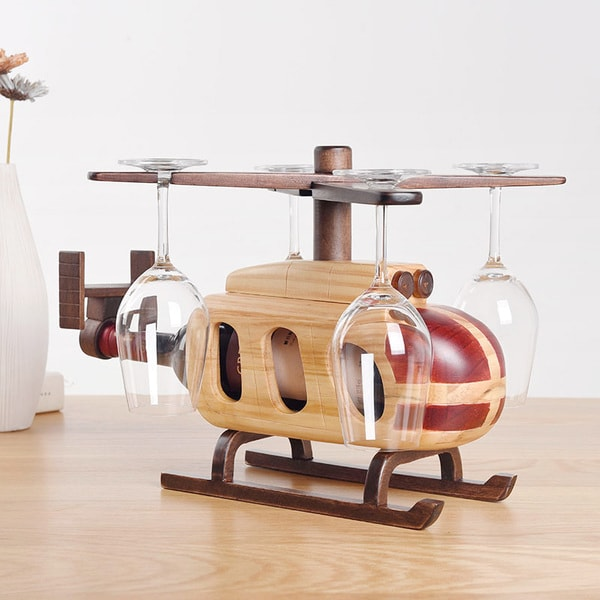Helicopter Wine Glass Bottle Rack