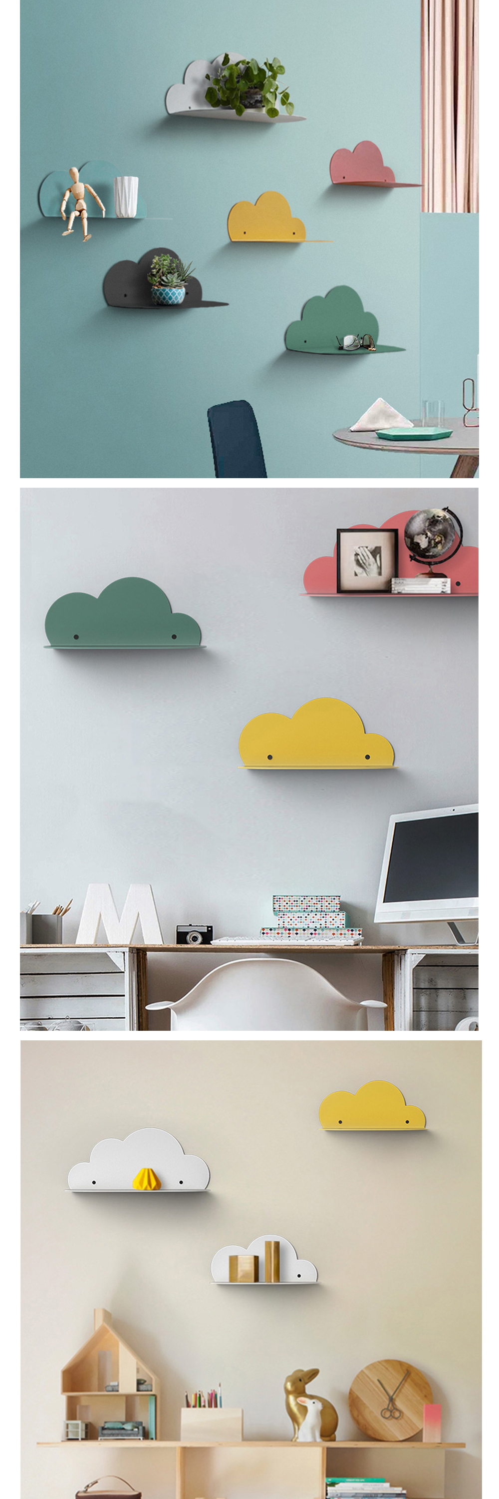 Metal Cloud Shape Wall Shelf Dreamy Home Decoration Wedding Decoration