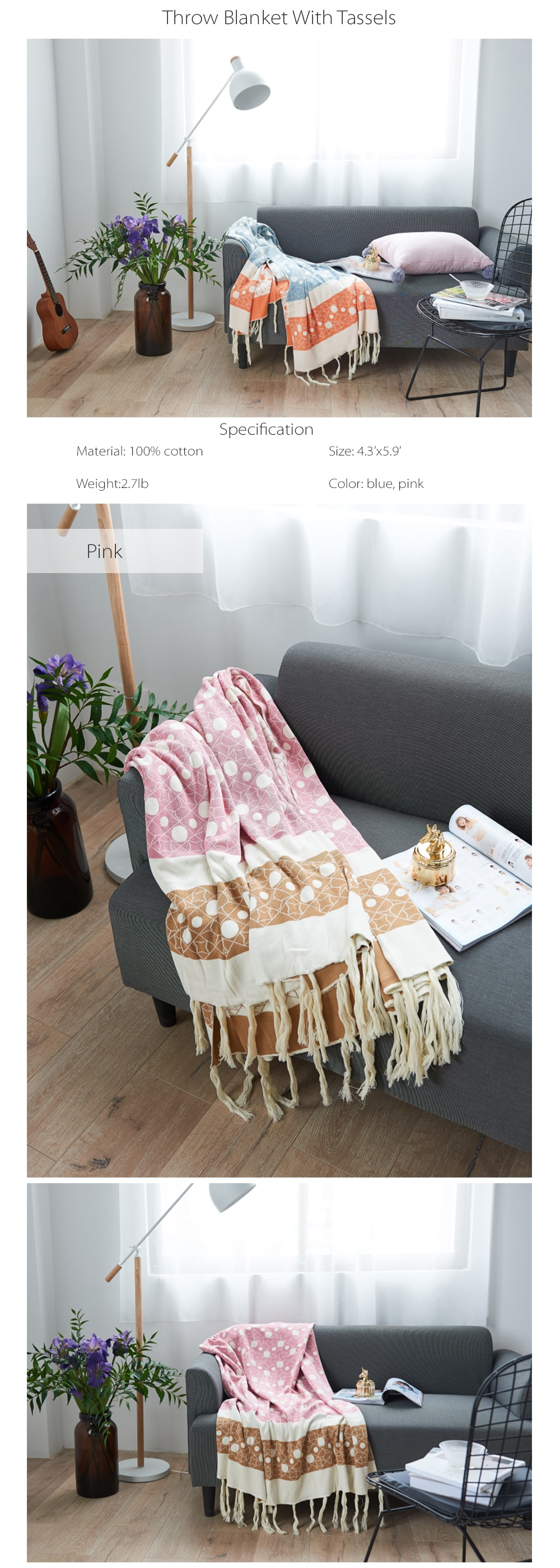 Throw Blanket with Tassels Made of Cotton