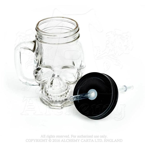 product thumbnail image for Smiling Skull Glass Drinking Jar