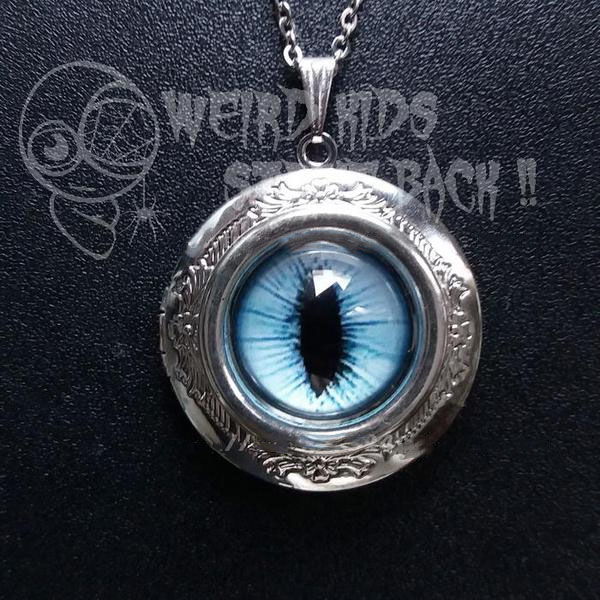 Cat's Eye Locket Necklace