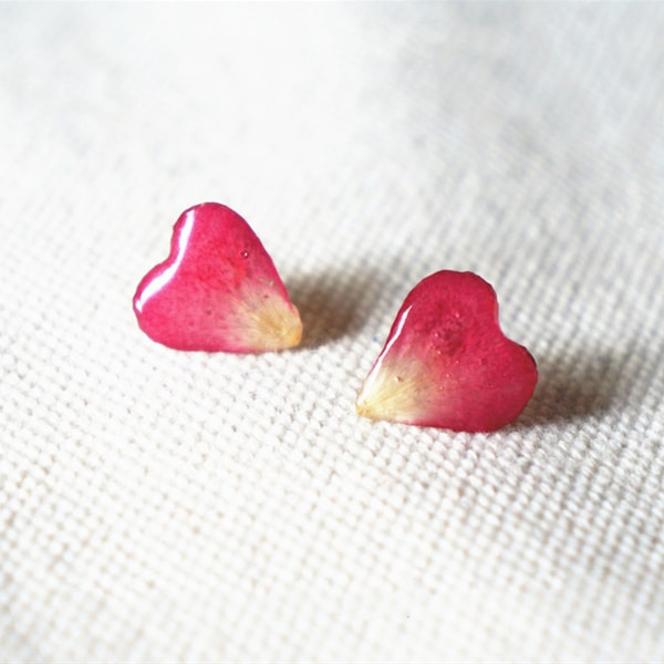 Rose Petal Heart Earrings
