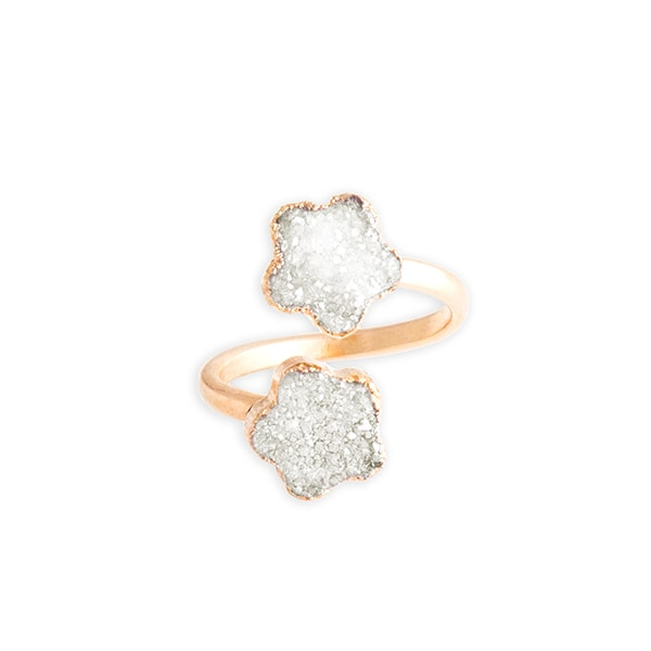 Crystal Druzy Flower Ring