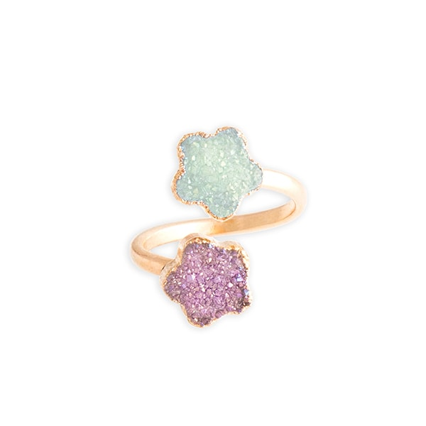 product thumbnail image for Crystal Druzy Flower Ring – Lilac &Aqua