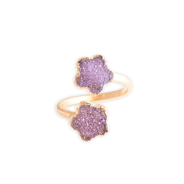 Crystal Druzy Flower Ring - Pink