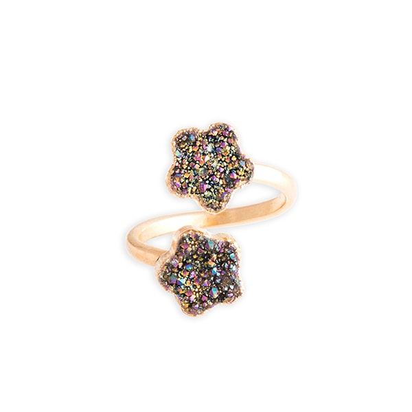 Crystal Druzy Flower Ring - Rainbow