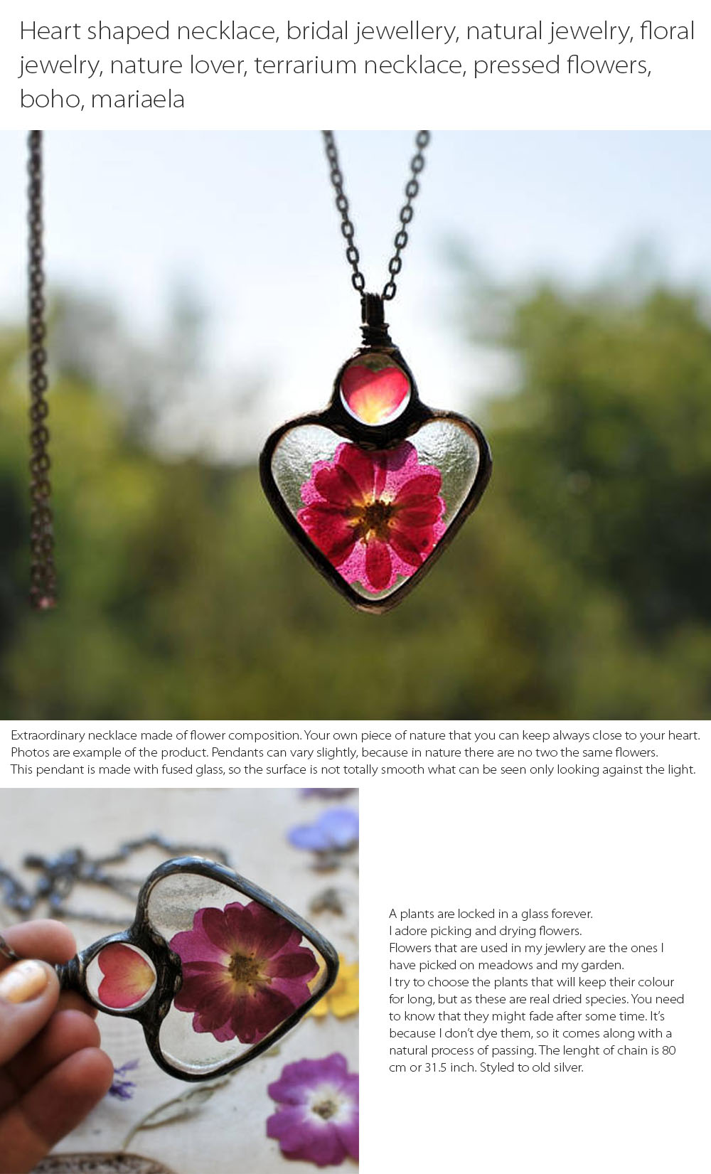2Heart Shaped Necklace Terrarium Necklace