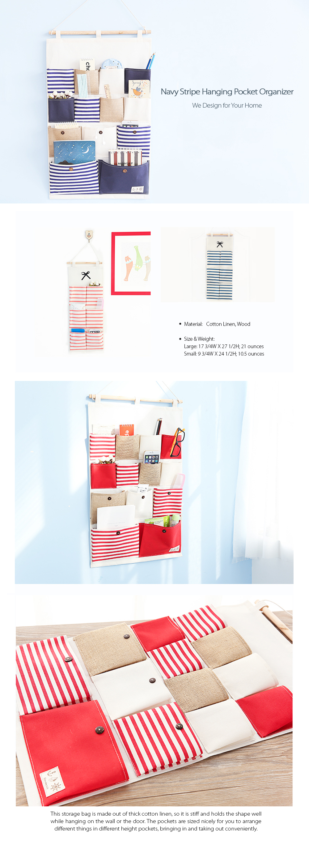 Navy Stripe Organizer Hanging Pocket Organizer