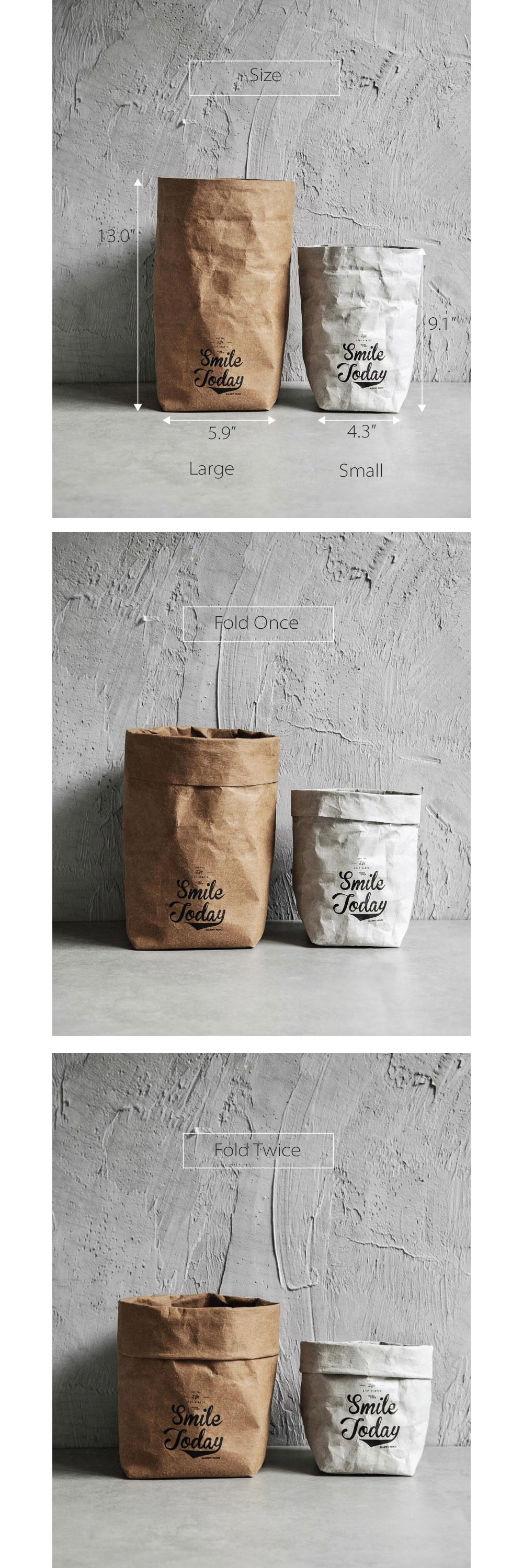 Kraft Paper Storage Bag Washable and Reusable