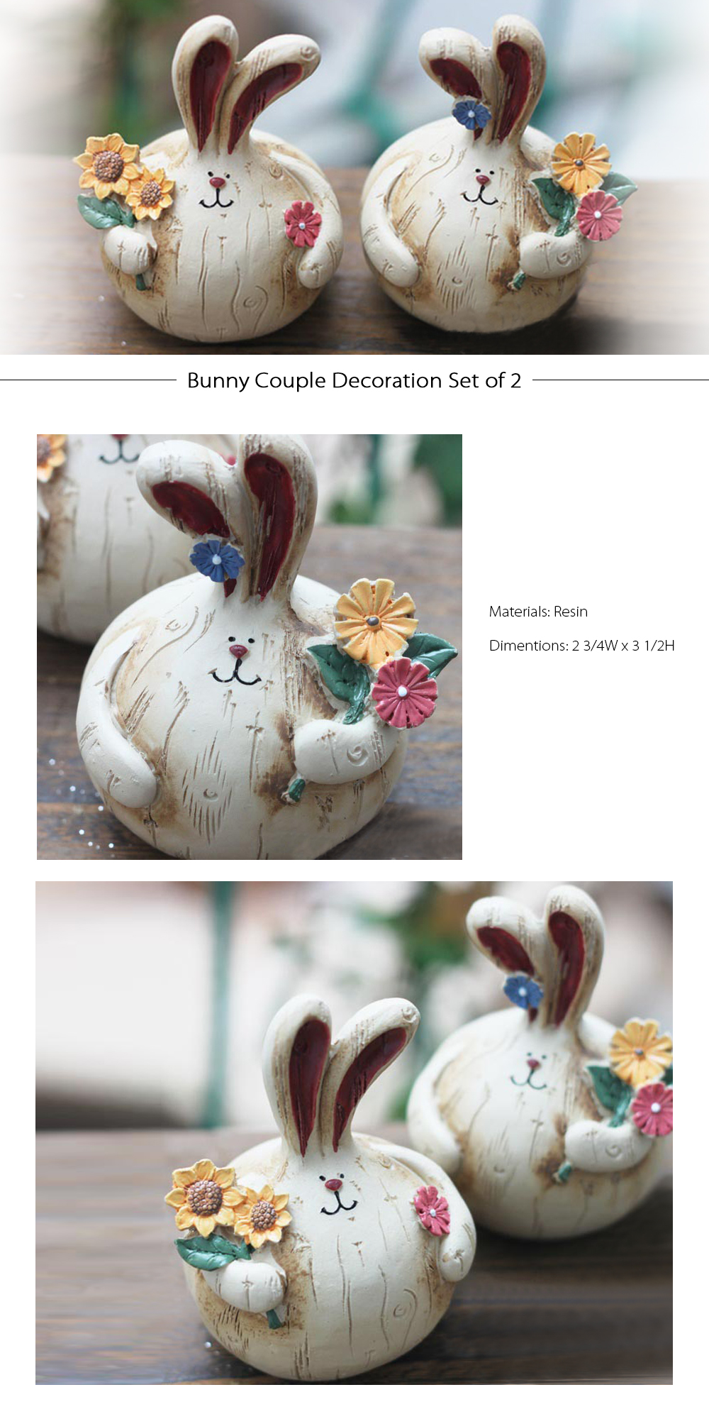Bunny Decoration Set Vintage Cute Bunny Ornament