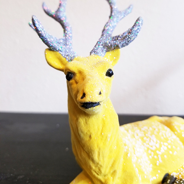 product image for flocked laying reindeer stag