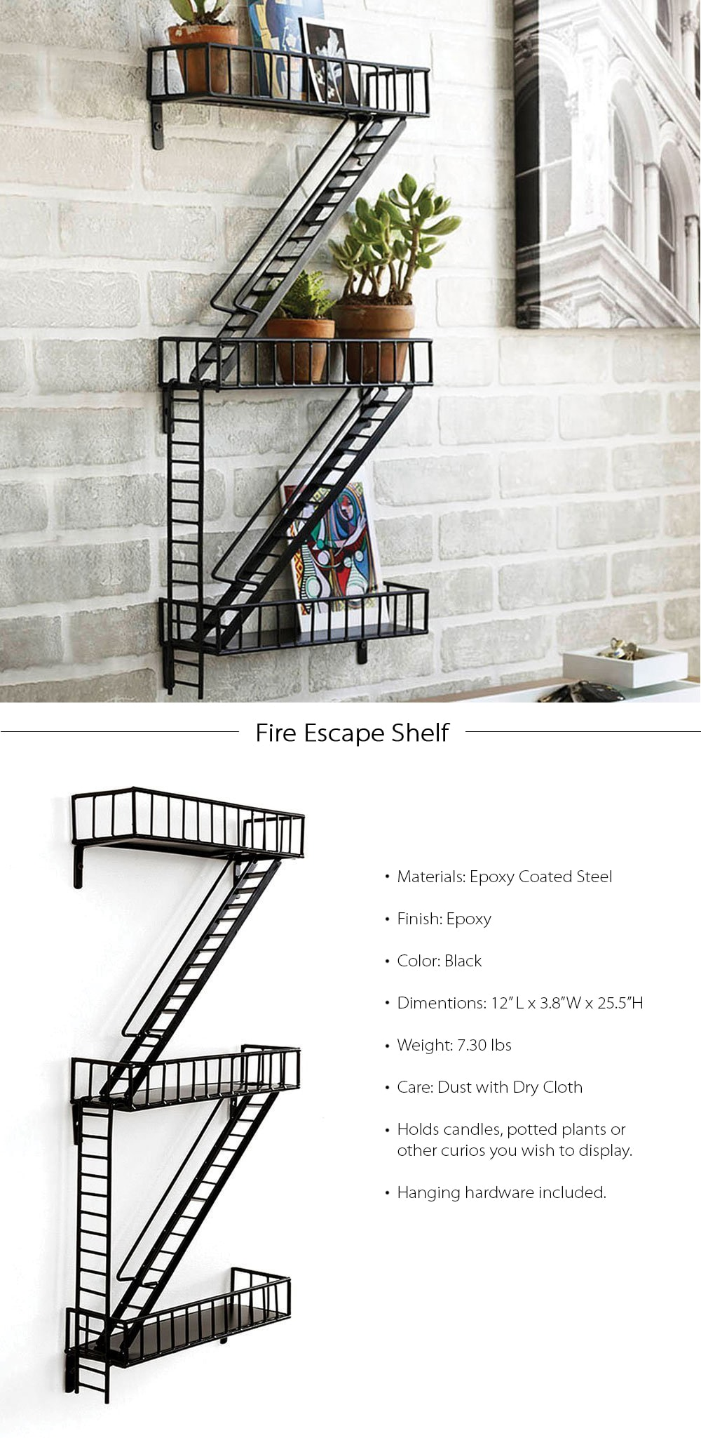 Fire Escape Shelf Unique Design