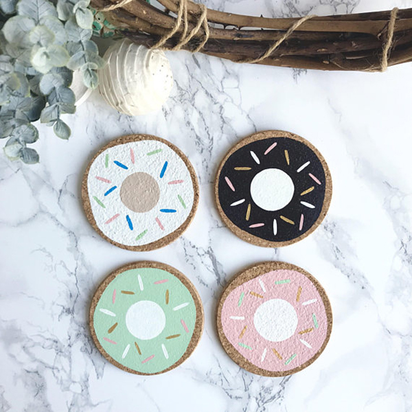 Assorted Donuts Cork Coasters