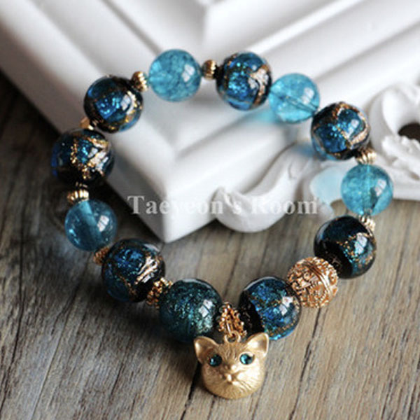 Product Image For Blue Cat Charm Bracelet