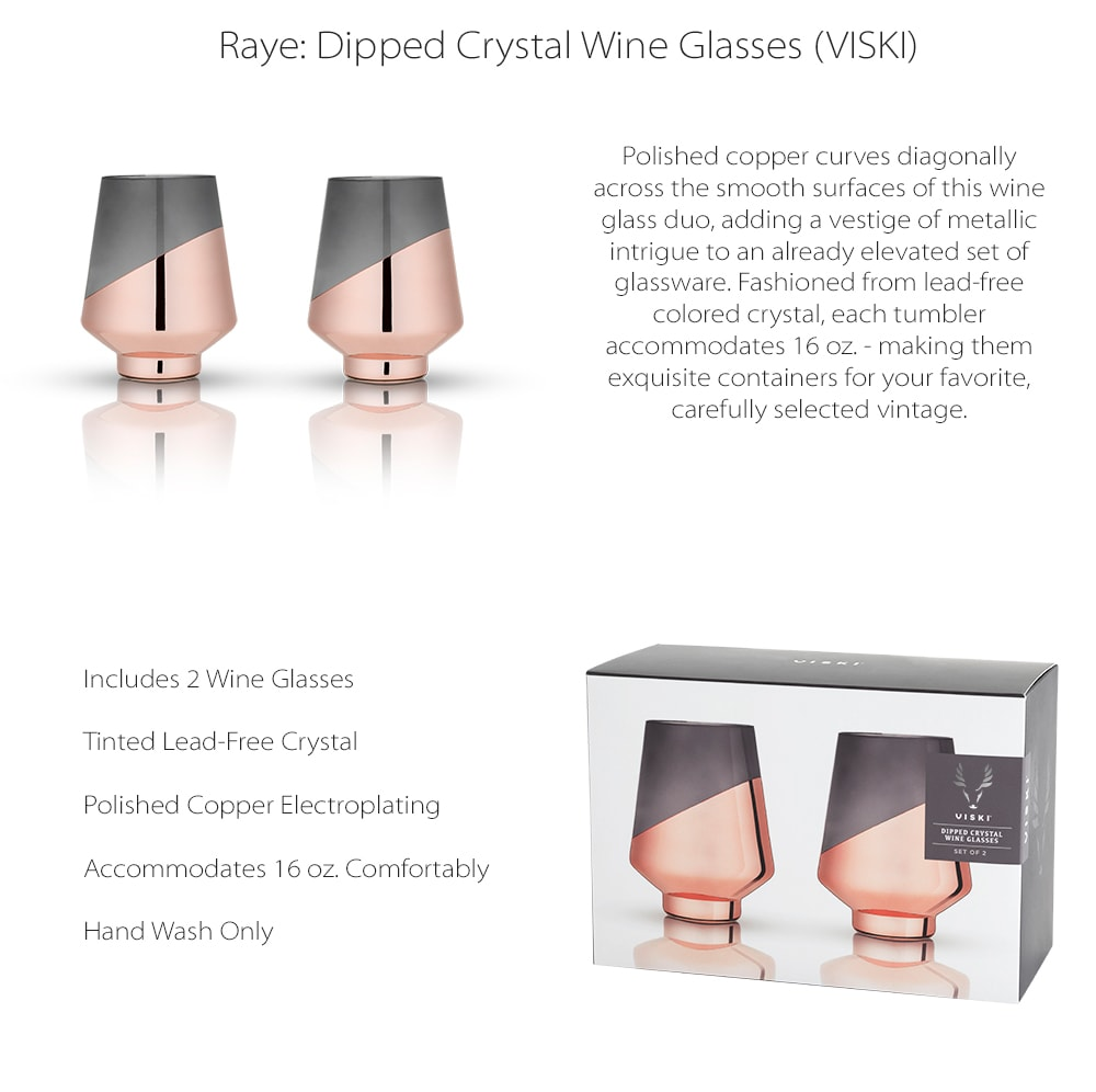 Dipped Glasses Smooth surfaces of this wine glass duo