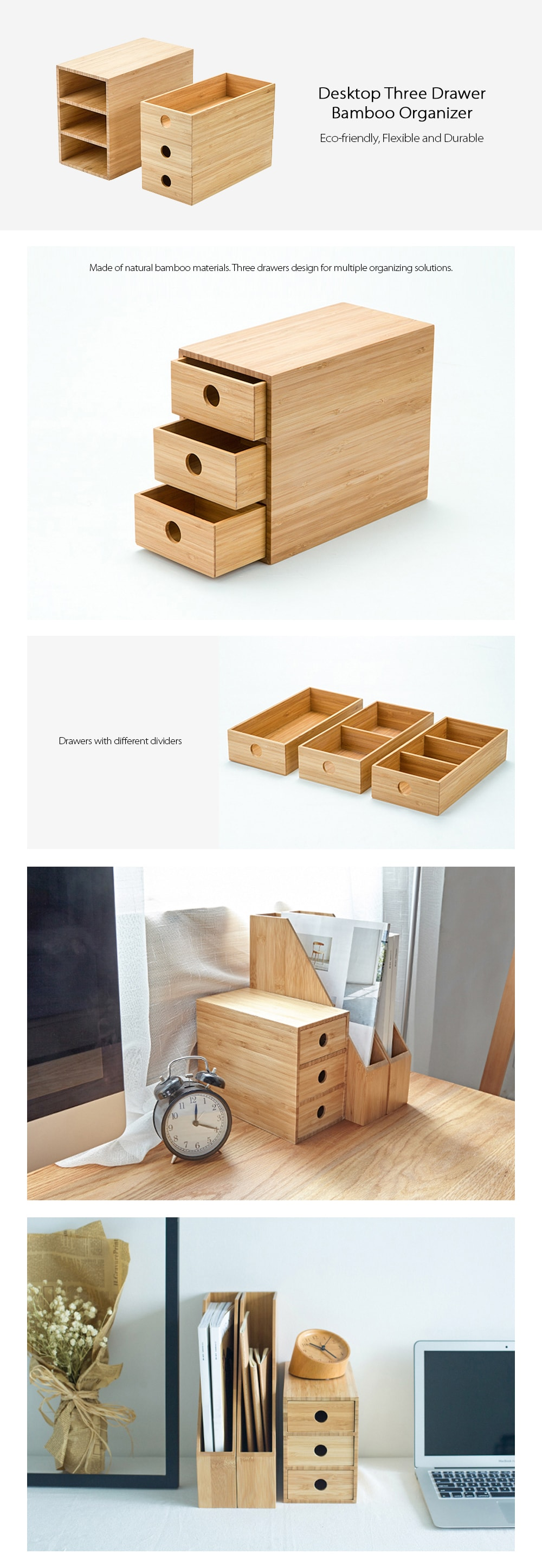 Three Drawer Organizer Made of Bamboo