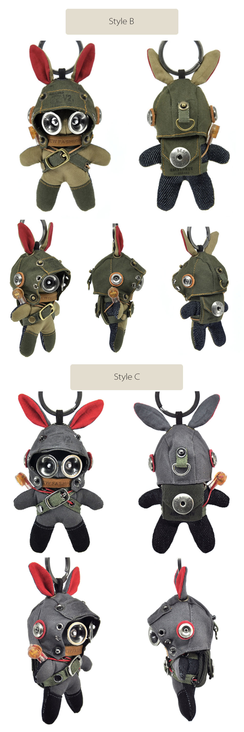 Plush Rabbit Key Chain Military Style