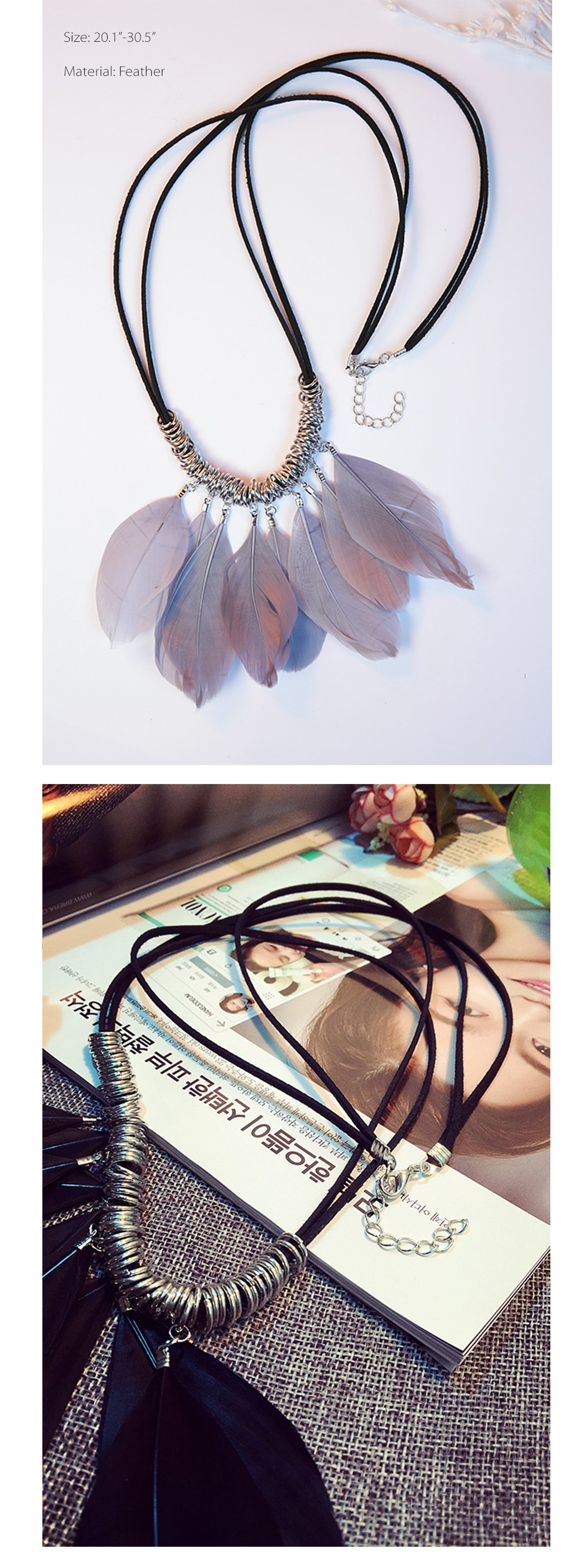 Feather Pendant Necklace Unique Design