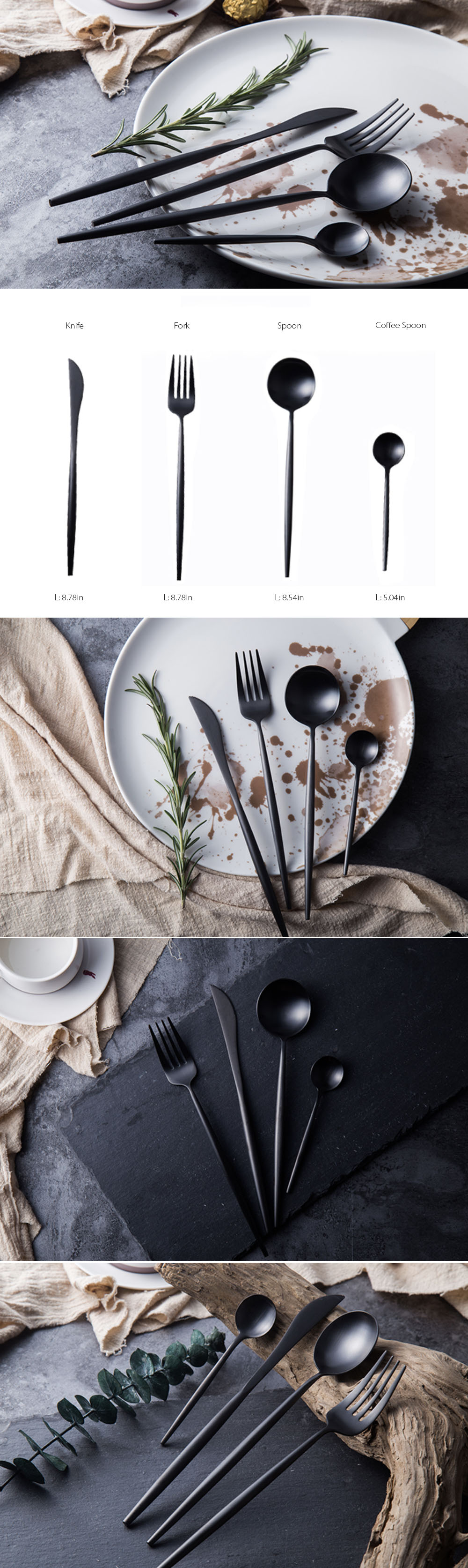 Black Modern Cookware (4 PCs) Cutlery set