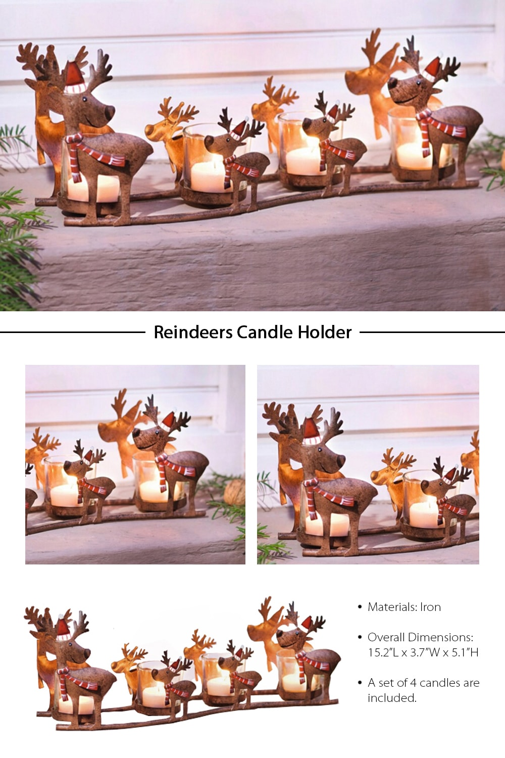 Reindeers Candle Holder Iron Artisan
