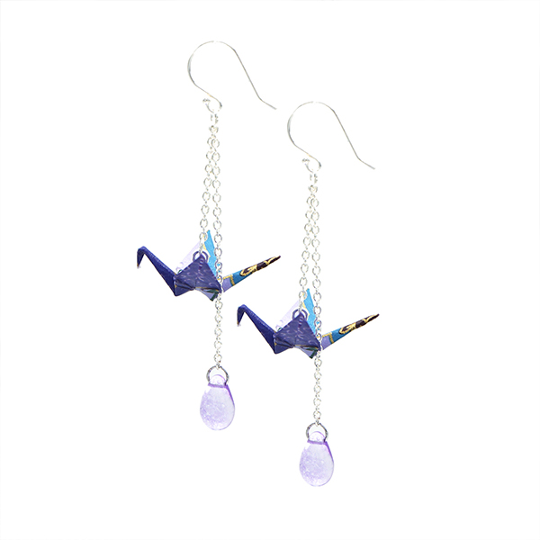 Purple Crane Earring (Single)