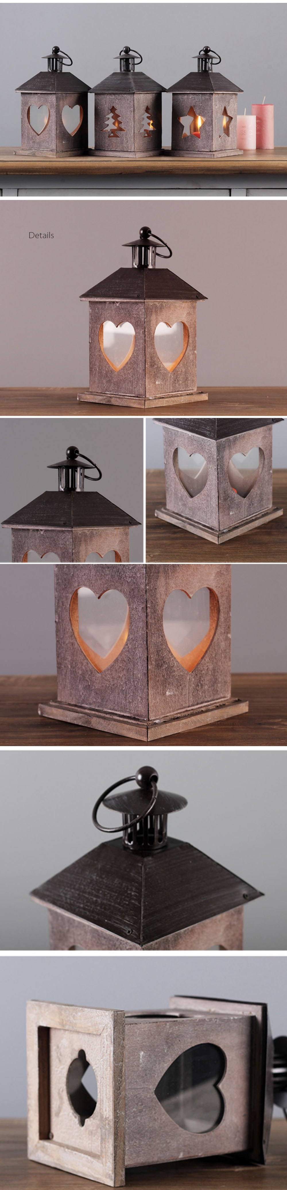 Vintage Style Lantern House Pattern Candle Holders