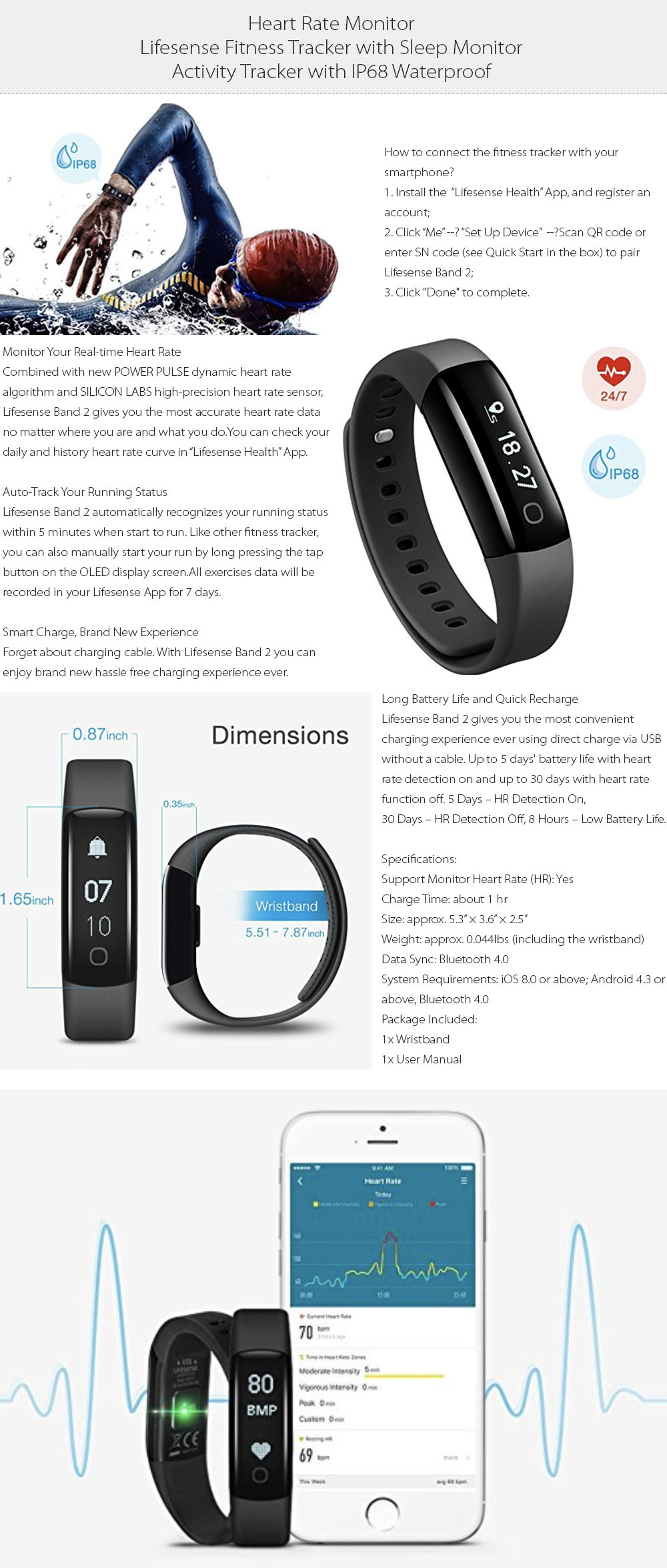 Heart Rate Monitor Waterproof Activity Tracker