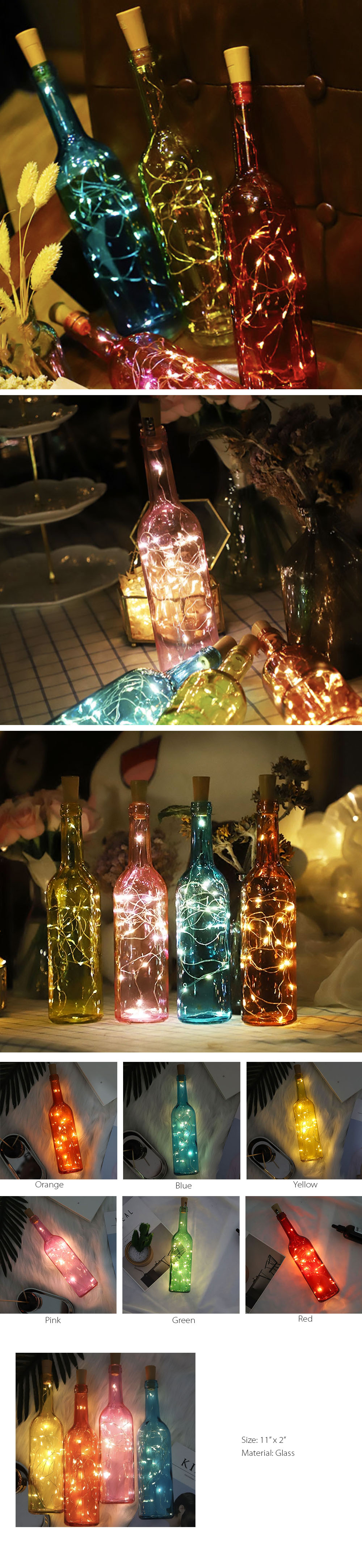 LED Bottle Light Colorful Holiday Decor