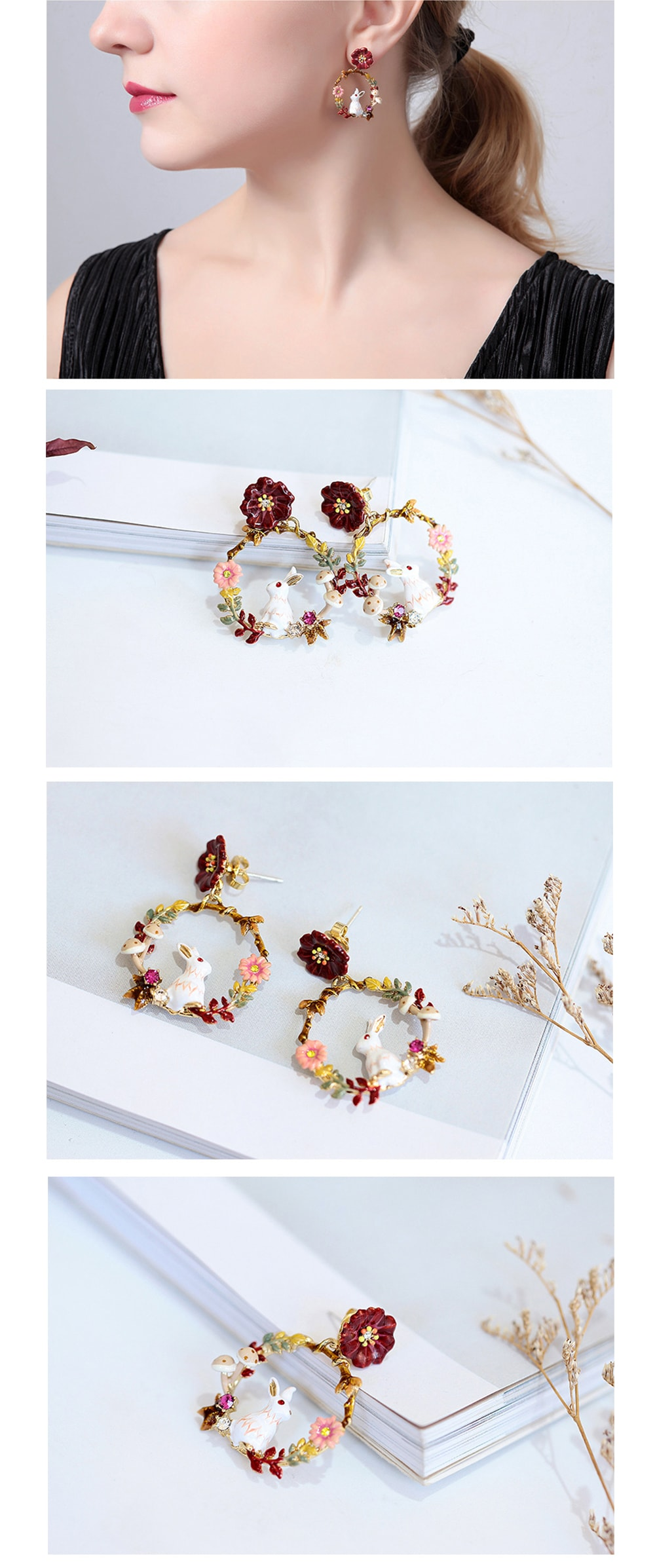 Enamel Rabbit Earrings Colorful and Cute Style
