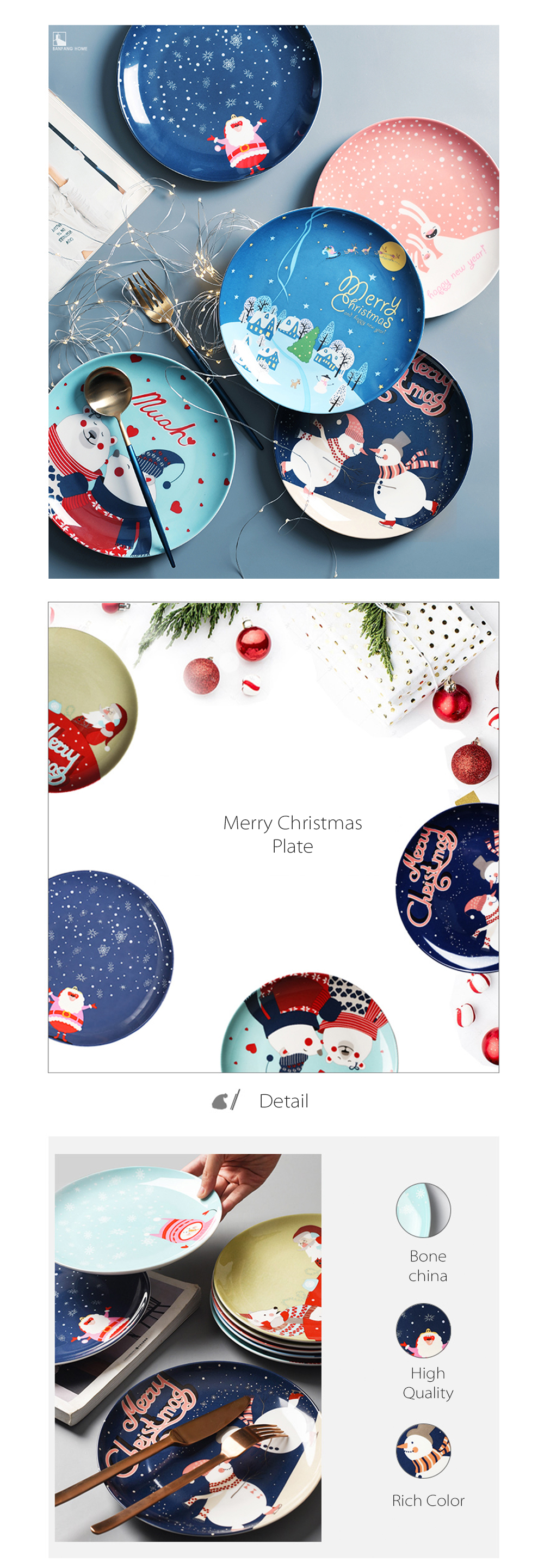 Christmas Ceramic Plate Holiday Dinnerware