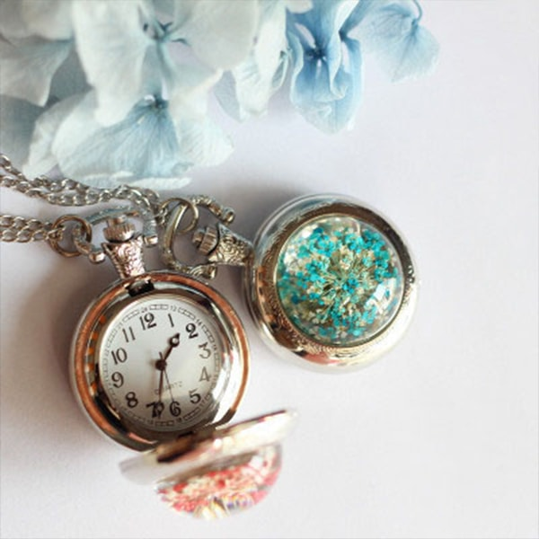 Flower Pocket Watch Necklace