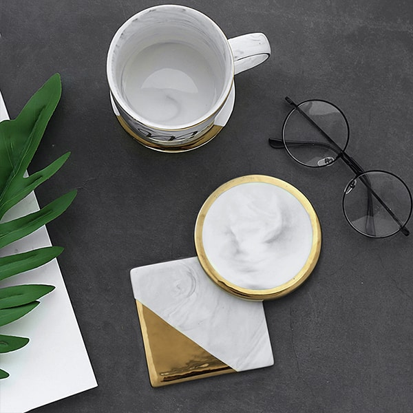 Marble Golden Trim Coaster